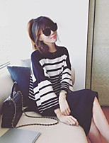 Women's Casual/Daily Simple T-shirt,Striped Round Neck Long Sleeve Others