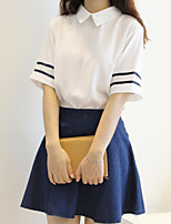 Women's Casual/Daily Simple T-shirt Skirt Suits,Solid Shirt Collar Short Sleeve Micro-elastic