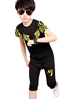 Boy's Fashion Going out Casual/Daily Sports Print Patchwork Sets Cotton Summer Short Sleeve Pants 2 Piece Clothing Set Children's Garments