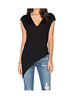 Women's Casual/Daily Simple T-shirt,Solid Deep V Sleeveless Cotton Thin