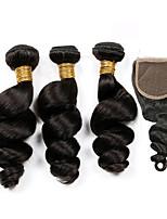 Tissages de cheveux humains Cheveux Péruviens Ondulation Lâche 6 Mois 4 Pièces tissages de cheveux