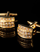 Luxury Crystal Gold Plated Cuff links Rhinestone French Cufflinks Shirt Cuff Buttons Mens Jewelry Wedding Gifts for Men Guests
