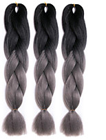 Dark gray synthetic braiding hair Extension Ombre Braiding Hair 100% High Temperature Fiber 3pcs/lot two Tone synthetic hair