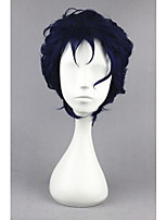 short Curly JoJo's Bizarre Adventure-Kujou Jotarou Blue&Black 12inch Anime Cosplay Wig CS-177A