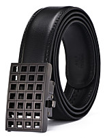 Men's Solid Buckle with Automatic Ratchet Leather Belt 35mm Wide 1 3/8