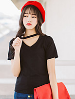 Women's Going out Casual/Daily Sexy Simple Summer T-shirt,Solid V Neck Short Sleeve Cotton Thin