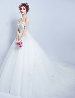 Ball Gown Wedding Dress Court Train Off-the-shoulder Tulle with Lace