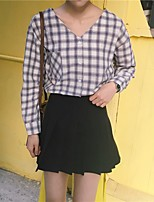 Women's Casual/Daily Simple Shirt,Striped V Neck Long Sleeve Cotton Polyester