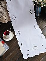 35x175cm Rectangular Embroidered Table Runner White Table Runner Cotton