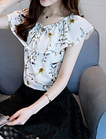 Women's Going out Casual/Daily Simple Boho Summer Blouse,Print Round Neck Sleeveless Silk Cotton Opaque
