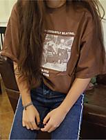 Feminino Camiseta Casual Simples Primavera Verão,Estampado Algodão Decote Redondo Manga Curta Fina