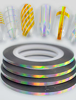 50pcs/box 2mm 20m Fashion Rainbow Sparkling Foil Striping Tape Line Nail Art DIY Beauty Laser Silver Glitter Foil Striping Tape Line Decoration