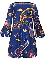 Women's Casual/Daily Beach Holiday Sexy Simple Sheath Dress,Print Off Shoulder Mini ¾ Sleeve Cotton Polyester Summer High Rise