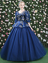 Formal Evening Dress - Floral Lace-up Ball Gown V-neck Floor-length Lace Satin Tulle with Appliques Flower(s) Pattern / Print Bandage