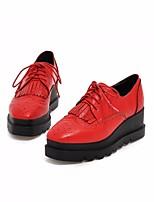 נשים נעלי אוקספורד נוחות PU אביב יומיומי עקב שטוח שחור אדום שקד שטוח
