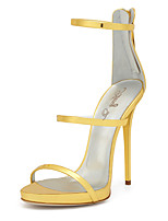 Women's Sandals With Heel 2017 Gold Shiny Patent High Heel Shoes Sxey Strappy Sandals Ladies Gladiator Heels Stilettos Plus Size