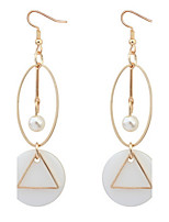 Fashion Circle Triangle Drop Earrings Long Shell Big Earrings For Women Fine Jewelry Gift