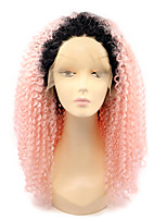 Ombre T1B/Pink Synthetic Lace Front Wigs Kinky Curly Heat Resistant Fiber Curly Hair Wig for Woman