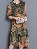 Ample Courte Robe Femme Sortie Décontracté / Quotidien Grandes Tailles Vintage simple Chinoiserie,Géométrique Col ArrondiMi-long