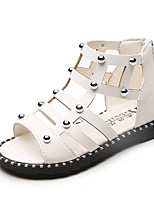 Girls' Sandals Summer Gladiator Comfort Leatherette Outdoor Office & Career Party & Evening Casual Flat Heel Studded ZipperBlushing Pink