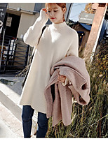 Women's Going out Casual/Daily Holiday Cute Street chic Regular Pullover,Solid Turtleneck Long Sleeve Acrylic Nylon Winter Medium