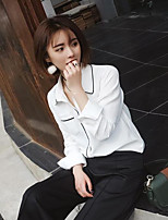 Women's Casual/Daily Simple Spring Summer Shirt,Solid Shirt Collar Long Sleeve Cotton Thin