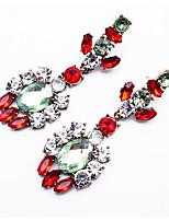 Boucles d'oreille goutte Bijoux Mode euroaméricains Gemme Alliage Bijoux Fuchsia Rouge Bleu Bijoux Pour Soirée Décontracté 1 paire