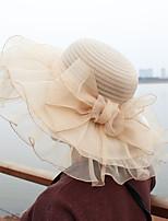 Для женщин Очаровательный На каждый день Панама Шляпа от солнца,Весна Лето Сетка Полиэстер С принтом