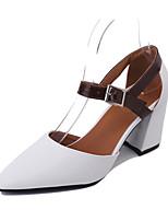 Women's Sandals Summer Comfort PU Outdoor Walking Block Heel Buckle Beige White