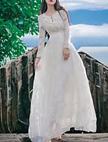 Einteilig/Kleid Klassische/Traditionelle Lolita Vintage Inspirationen Elegant Prinzessin Cosplay Lolita Kleider Weiß einfarbig Spitze