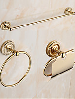 Mordern Gold Color Luxury Brass 3pcs Bathroom Accessory Set
