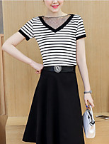 Women's Casual/Daily Simple Summer T-shirt Skirt Suits,Striped V Neck Short Sleeve Rayon