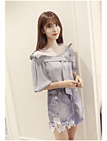 Women's Casual/Daily Simple Blouse,Solid Boat Neck ½ Length Sleeve Nylon