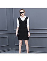 Women's Casual/Daily Work Simple Shirt Dress Suits,Solid Striped Shirt Collar Long Sleeve Micro-elastic