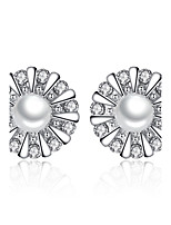 Stud Earrings AAA Cubic Zirconia Sun Flowers Sterling Silver Imitation Pearl Silver Jewelry For Wedding Party Daily Casual 1 pair