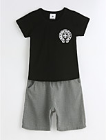 Boys' Casual/Daily Solid Sets,Cotton Summer Short Sleeve Clothing Set