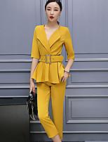 Damen einfarbig Street Schick Anspruchsvoll Arbeit Party/Cocktail Shirt Hose Anzüge,Gekerbtes Revers