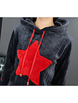Women's Casual/Daily Simple Hoodie Dress Suits,Geometric Round Neck Long Sleeve Jacquard strenchy