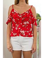 Damen Blumen Sexy Einfach Street Schick Ausgehen Lässig/Alltäglich T-shirt,Gurt Sommer Kurzarm Seide Baumwolle Dünn Mittel