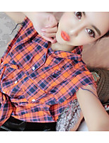 Women's Casual/Daily Simple Shirt Pant Suits,Check Shirt Collar