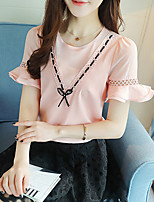Women's Going out Casual/Daily Simple Boho Summer Fall Blouse,Solid Round Neck Short Sleeve Silk Cotton Opaque