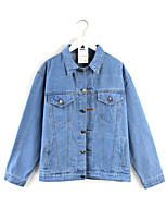 Women's Sports Simple Spring Denim Jacket,Print Stand Long Sleeve Short Others
