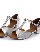 Customizable Women's Dance Shoes Sparkling Glitter Latin Flats Customized Heel Indoor Silver