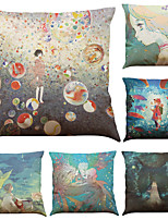Set of 6 Oil Painting Illustrations Pattern Linen Pillowcase Sofa Home Decor Cushion Cover  Throw Pillow Case (18*18inch)