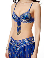 Belly Dance Outfits Women's Performance Chinlon Sequined 2 Pieces Hip Scarf Bra