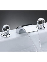 Contemporary Art Deco/Retro Modern Widespread Waterfall with  Ceramic Valve Two Handles Three Holes for  Chrome , Bathroom Sink Faucet