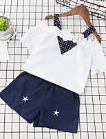 Girls' Going out Casual/Daily Polka Dot Patchwork Embroidered Sets,Cotton Summer Short Sleeve Clothing Set