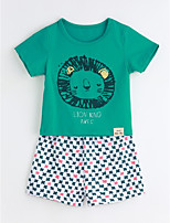 Unisex Casual/Daily Animal Print Sets,Cotton Summer Short Sleeve Clothing Set