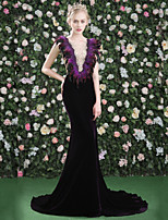 Formal Evening Dress - Sexy Elegant Trumpet / Mermaid Jewel Court Train Lace Satin Tulle Velvet with Beading Feathers / Fur Lace