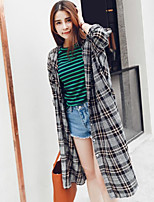 Women's Going out Casual/Daily Simple Spring Summer Shirt,Print Shirt Collar Long Sleeve Cotton Thin